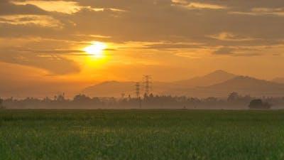 Timelapse dramatic orange sunrise