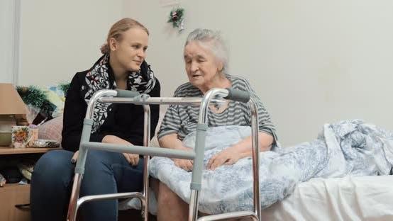 Thumbnail for Adult Granddaughter Visiting Elderly Grandma in the Hospital