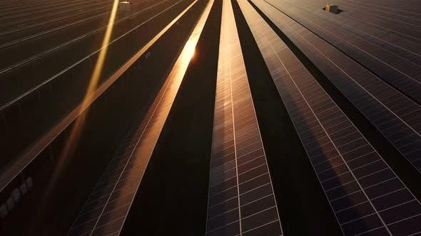 Thumbnail for An Industrial Solar Energy Farm at Sunset