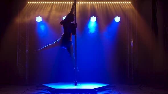 Pole Dance Woman Training, Beautiful Young Woman Doing Pole Dance, Female Dancer Silhouette, Fitness