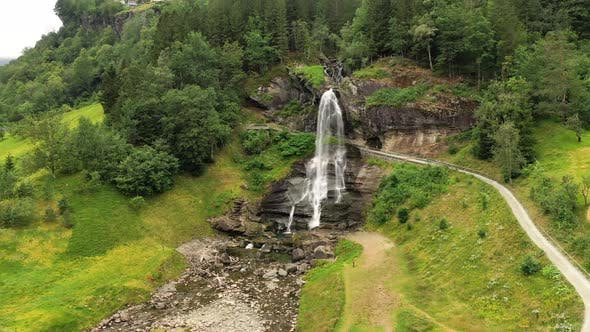 Thumbnail for Steinsdalsfossen Is a Waterfall in the Village of Steine in the Municipality of Kvam