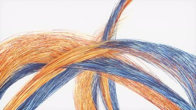 Flowing colored lines,crossed lines.