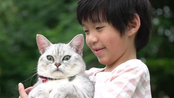 Cute Asain Child Playing With British Cat In The Park