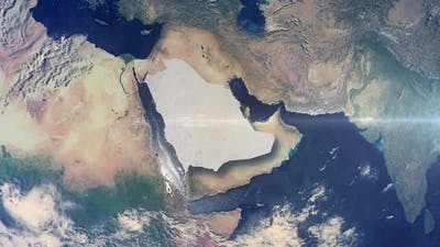 Realistic Earth Zoom Highlight Country Saudi Arabia