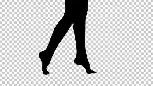 Silhouette Beautiful female legs walking elegantly