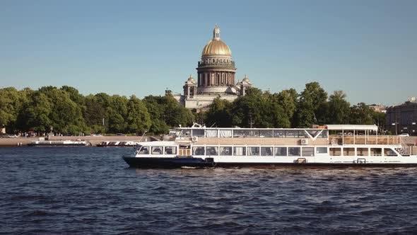 Pleasure Boat In The Center Of St. Petersburg