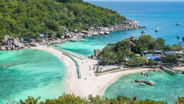 Thumbnail for Beach with Arriving Tourist and Sunbed on Koh Nangyuan Island on Bright Sunny Day Surraunded By