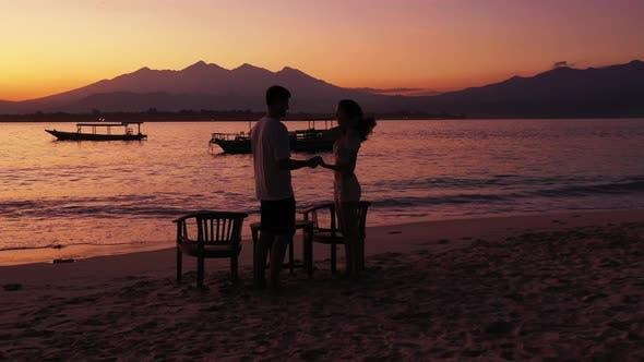 Thumbnail for Romantic People on Honeymoon Vacation Enjoy Luxury on Beach on Clean White Sand