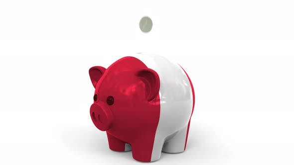 Thumbnail for Coins Fall Into Piggy Bank Painted with Flag of Peru