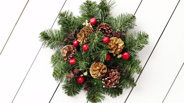 Thumbnail for Christmas Wreath on White Wooden Background