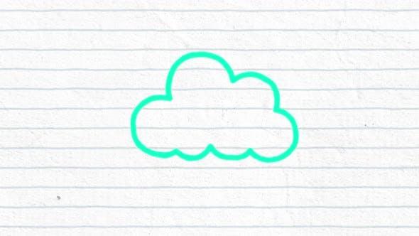 Animation de l'icône de nuage tracé vert les gens dessinés à la main avec un marqueur sur papier blanc ligné