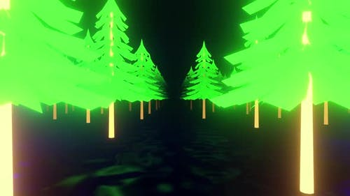 Winter Tree Neon 01 4k