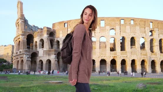 Thumbnail for Happy attractive Caucasian woman sightseeing in Rome