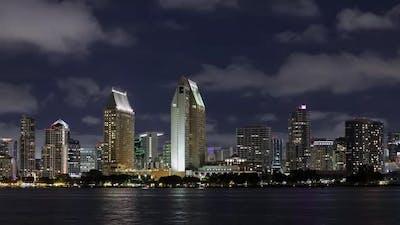 Night timelapse of the San Diego skyline