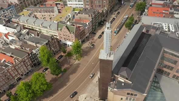 Thumbnail for Amsterdam Street with Public Transport Tram From Aerial Drone Perspective