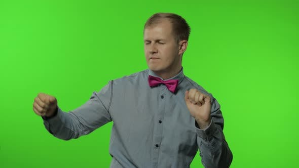 Thumbnail for Handsome Man Moving in Dance, Smiling Carefree, Trends, Gesture of Success, Celebrate. Chroma Key