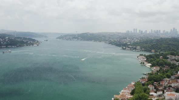 Cover Image for Istanbul Bosphorus And Waterside House Aerial View