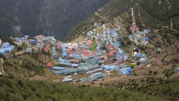 Namche Bazaar From Above. Himalaya, Nepal