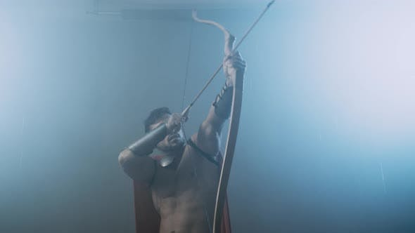 Thumbnail for Shirtless Wet Spartan Raising Bow with Arrow Up.