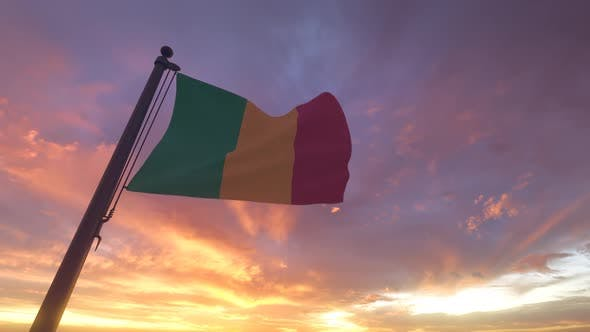 Thumbnail for Mali Flag on a Flagpole V3