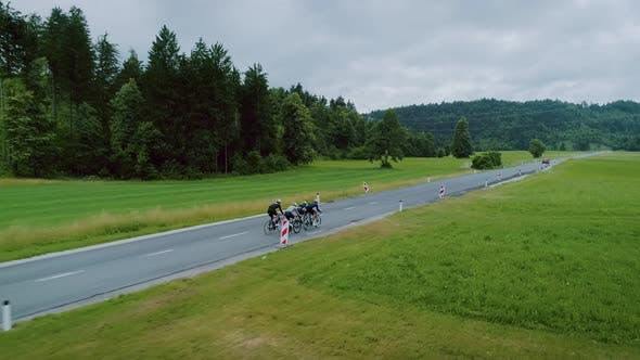 Thumbnail for Team of Cyclists Ride in Beautiful Scenery