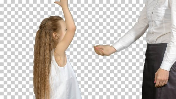 Happy mother giving high five to her little daughter, Alpha Channel