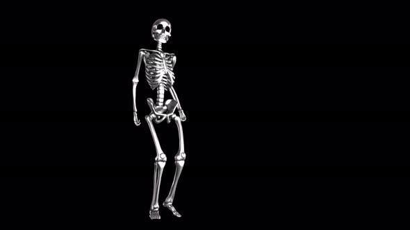 4K Silver dancing skeleton with alpha