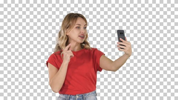 Thumbnail for Cheerful female blogger recording video to front camera