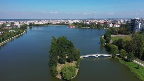 Big Public Lake and an Island in the Center of Ivano-Frankovsk City