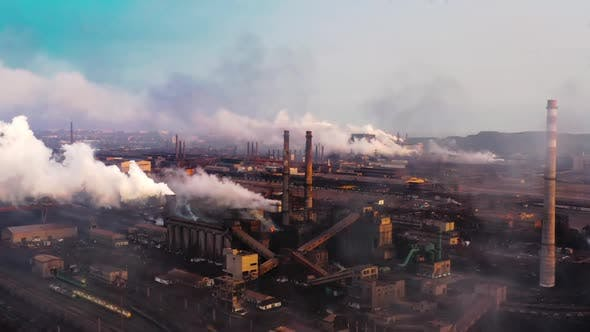 Thumbnail for GLOBAL WARMING, View of High Chimney Pipes with Grey Smoke, Pipes Pollute Industry