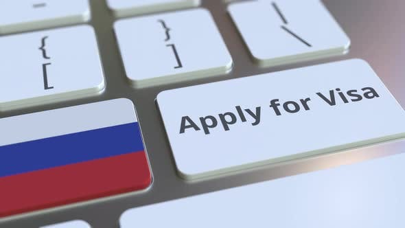 Thumbnail for APPLY FOR VISA Text and Flag of Russia on the Computer Keyboard