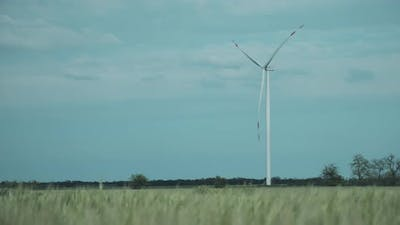 Lonely Wind Turbine in the Middle of the Field