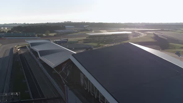 Sunrise View of the Silverstone Race Circuit at the International Pit Straight