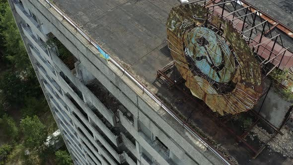 Soviet Coat of Arms on a Highrise Building Aerial View