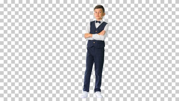 Thumbnail for Little boy in a bow tie standing with, Alpha Channel