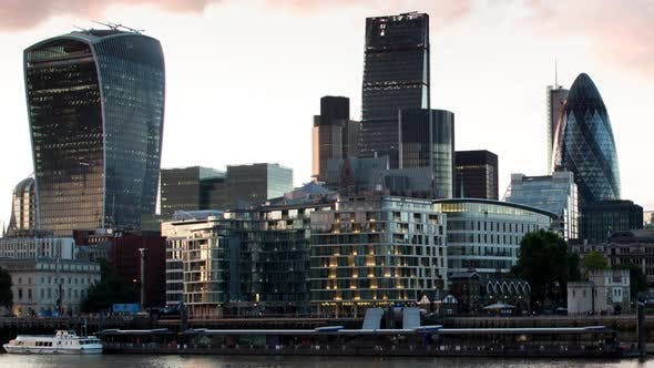 Thumbnail for london city  skyline financial business skyscrapers sunset