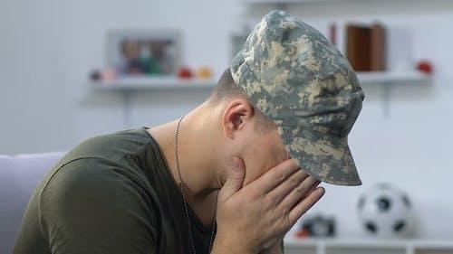 Anxious Military Veteran Suffering Stress, Posttraumatic Disorder, Mental Health