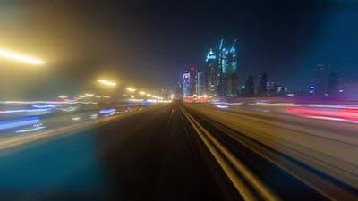 Metro Dubai Night Time Lapse
