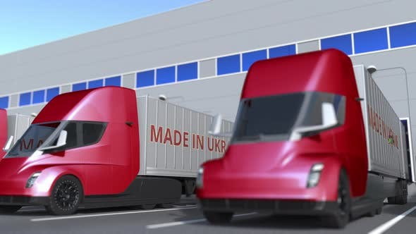 Modern Semitrailer Trucks with MADE IN UKRAINE Text