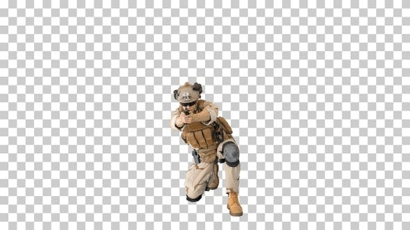 Thumbnail for Soldier is shooting sitting on his knee, Alpha Channel