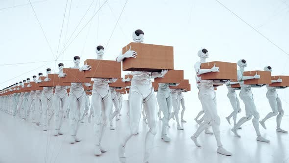 Humanoid Android Robot Workers Walking With Box On Hands 4k