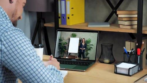 Businessman in Office Study Watch Online Education Business Course Laptop Webcam