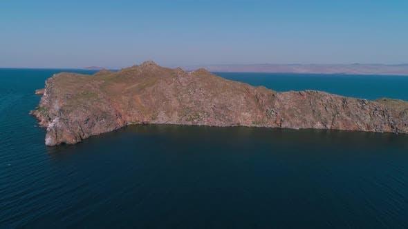 Thumbnail for Aerial View of Oltrek Island at Dawn. Lake Baikal in July