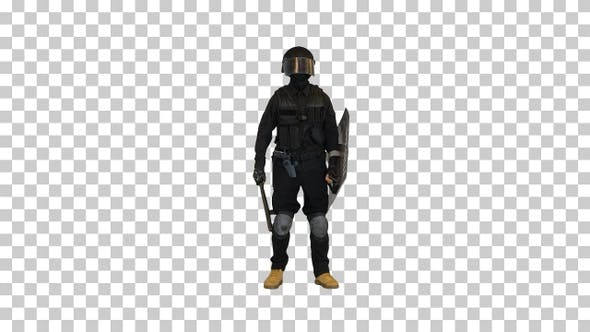 Riot police officer talking and making, Alpha Channel