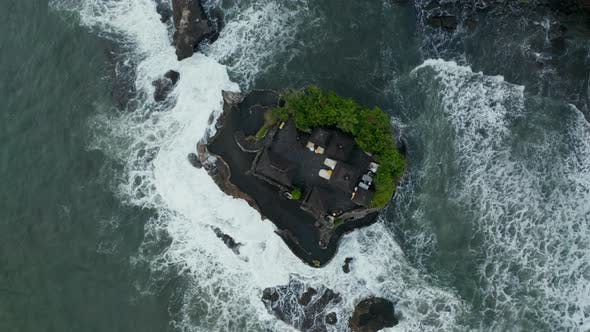 Overhead Aerial View of Tanah Lot Temple on a Small Rocky Cliff