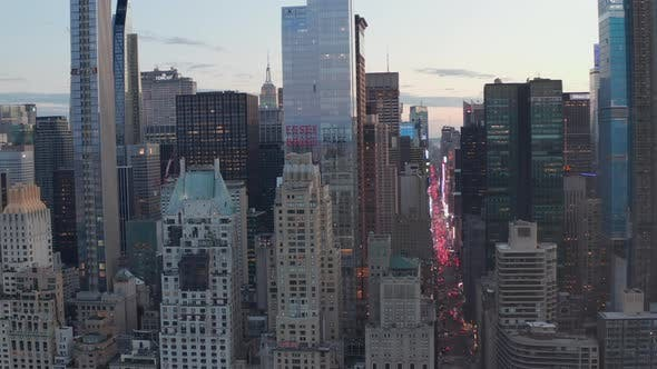 Thumbnail for AERIAL: Manhattan Skyline at Sunset with Beautiful City Lights Busy Street in New York City at