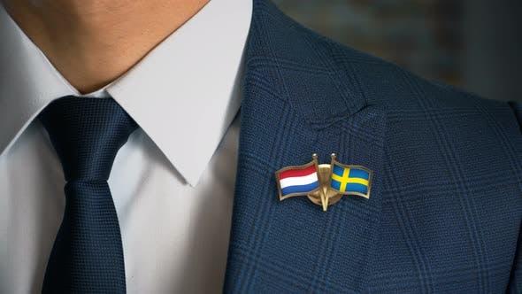 Thumbnail for Businessman Friend Flags Pin Netherlands Sweden