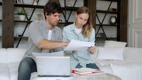 Thumbnail for Young Couple Paying Bills Online in Computer App