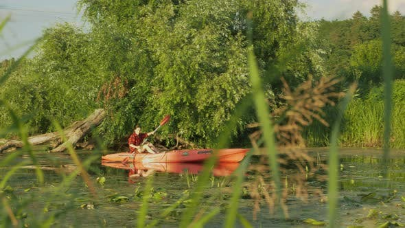 Cover Image for Sportive woman sails in boat on calm river. Female tourist is rowing in canoe on lake in summer.