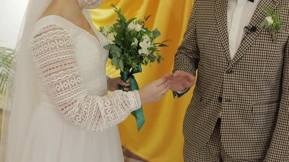 Thumbnail for Newlyweds. Caucasian Groom with Bride Exchanging Rings on Ceremony. Wedding Couple. Slow Motion